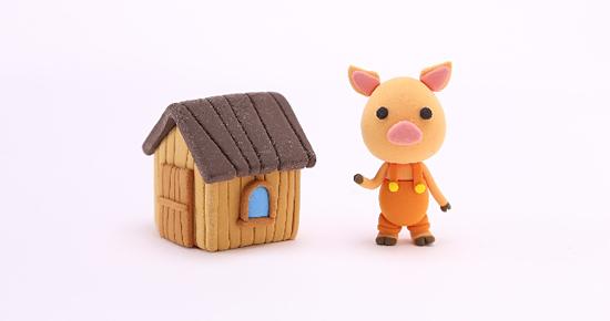 子豚と木の枝の家