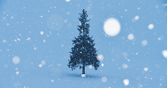 雪降るクリスマスツリー