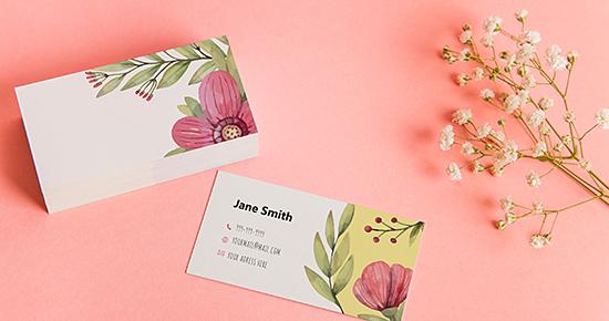 花デザインの名刺