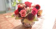 赤いバラ秋色アレンジメント